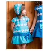 Vestido con capota de lino colección azul de nekenia